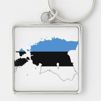 Estonia Flag map EE Keychain