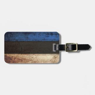 Estonia Flag on Old Wood Grain Luggage Tag
