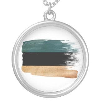 Estonia Flag Round Pendant Necklace