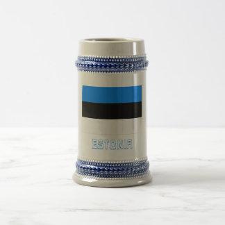 Estonia Flag with Name 18 Oz Beer Stein