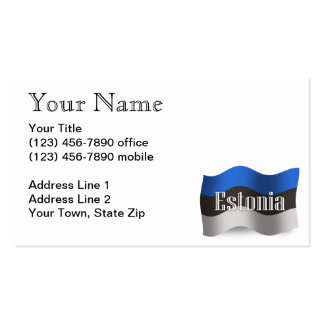 Estonia Waving Flag Business Card