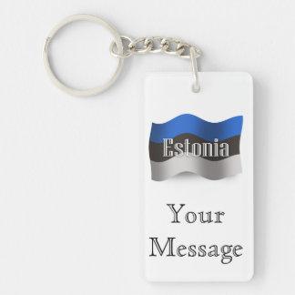 Estonia Waving Flag Keychain