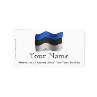 Estonia Waving Flag Label