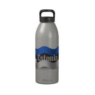 Estonia Waving Flag Water Bottles