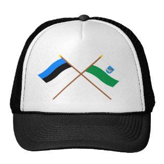 Estonia y banderas cruzadas Ida-Viru Gorros