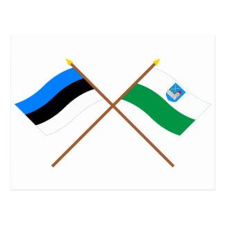Estonia y banderas cruzadas Ida-Viru Tarjetas Postales