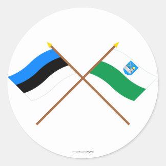 Estonia y banderas cruzadas Lääne-Viru Pegatina Redonda