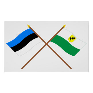 Estonia y banderas cruzadas Põlva Poster