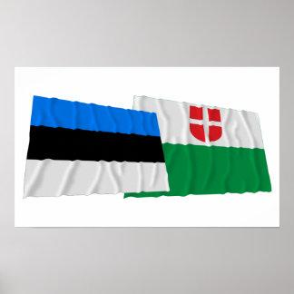 Estonia y banderas que agitan de Harju Impresiones