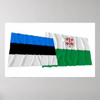 Estonia y banderas que agitan de Hiiu Posters