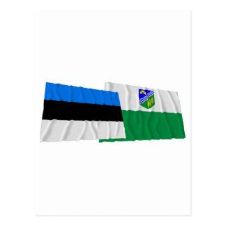 Estonia y banderas que agitan de Jõgeva Postal