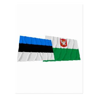 Estonia y banderas que agitan de Lääne Postales