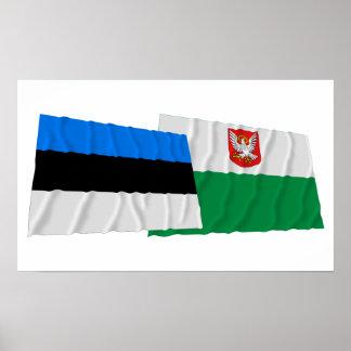 Estonia y banderas que agitan de Lääne Posters