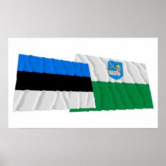 Estonia y banderas que agitan de Lääne-Viru Impresiones