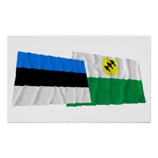 Estonia y banderas que agitan de Põlva Impresiones