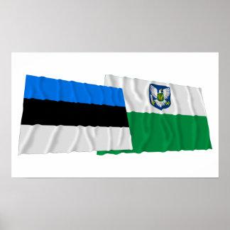 Estonia y banderas que agitan de Viljandi Poster