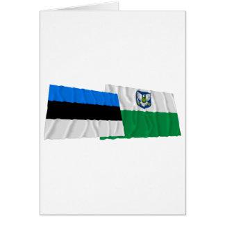Estonia y banderas que agitan de Viljandi Tarjeta De Felicitación