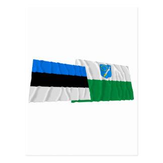 Estonia y banderas que agitan de Võru Postales