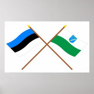 Estonia y banderas que agitan de Võru Póster