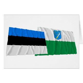 Estonia y banderas que agitan de Võru Tarjeta De Felicitación