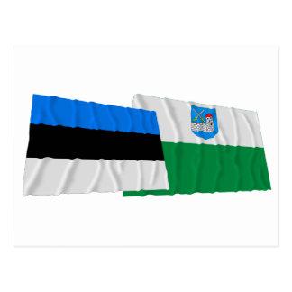 Estonia y banderas que agitan Ida-Viru Tarjetas Postales