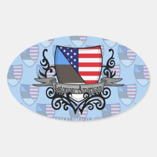 Estonian-American Shield Flag Oval Sticker