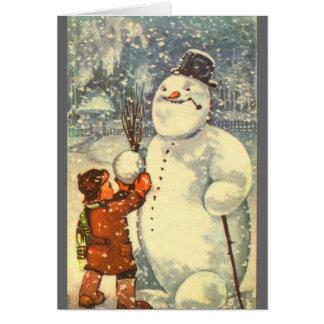 Estonian Boy with Snowman Card
