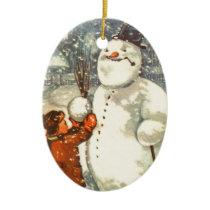 Estonian Boy with Snowman Christmas Tree Ornament