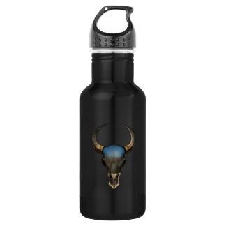 Estonian Flag Bull Skull Stainless Steel Water Bottle