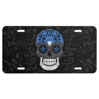 Estonian Flag Sugar Skull with Roses License Plate