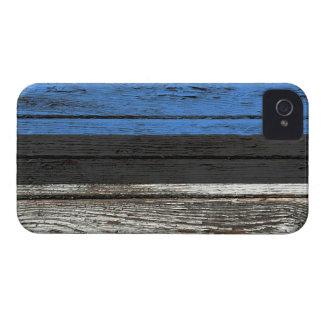 Estonian Flag with Rough Wood Grain Effect iPhone 4 Case