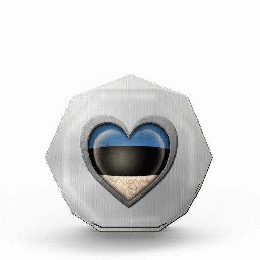 Estonian Heart Flag Stainless Steel Effect Award