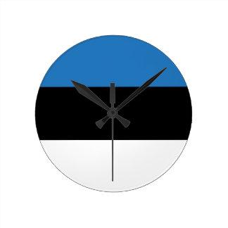 Estonian or Flag of Estonia Round Wall Clocks