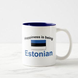 Estonio feliz taza de dos tonos