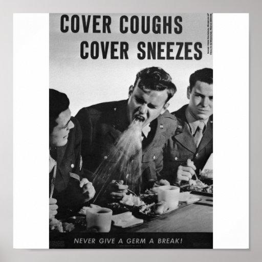 Estornudos de la cubierta de las toses de la cubie póster