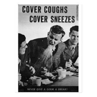 Estornudos de la cubierta de las toses de la postales