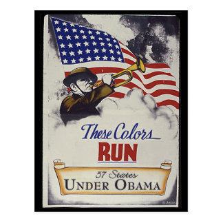 Estos colores corridos (Obama) Tarjetas Postales