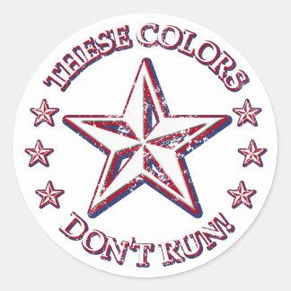 ¡Estos colores no corren! Estrella Pegatina Redonda