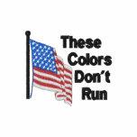 Estos colores no corren patriótico camiseta polo bordada