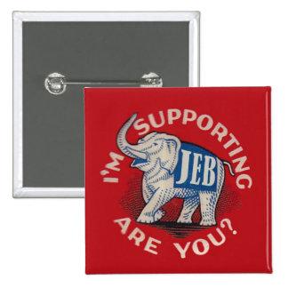 Estoy apoyando Jeb Pin Cuadrado