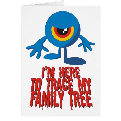 Estoy aquí remontar mi árbol de familia tarjeta de felicitación