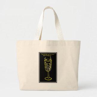 Estoy bebiendo la impresión del champán de las est bolsa tela grande