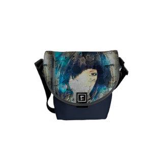 Estoy con bolsa de mensajero azul de la peluca la  bolsa de mensajeria
