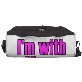 ¡Estoy con ella en rosa! Bolsas De Ordenador