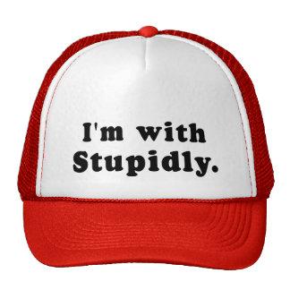 Estoy con estúpido las camisetas, gorras, botones