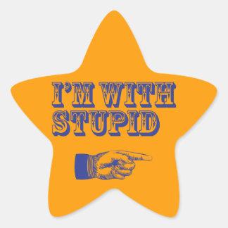 Estoy con estúpido colcomanias forma de estrellaes