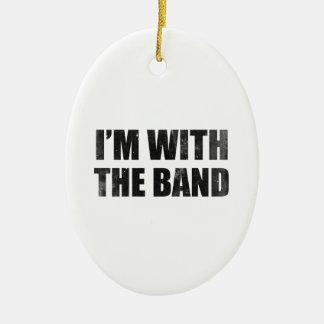 Estoy con la banda adorno navideño ovalado de cerámica
