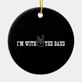 Estoy con la banda adorno navideño redondo de cerámica