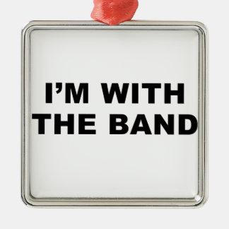 Estoy con la banda adorno cuadrado plateado
