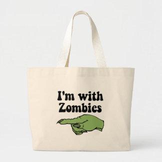 Estoy con los zombis bolsa tela grande